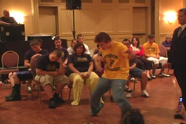 High shool student hypnotized to dance like Elvis