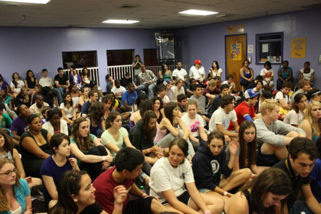 students watching hypnosis show